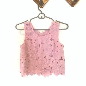 LA HEARTS Lavender Floral Crochet Crop Top